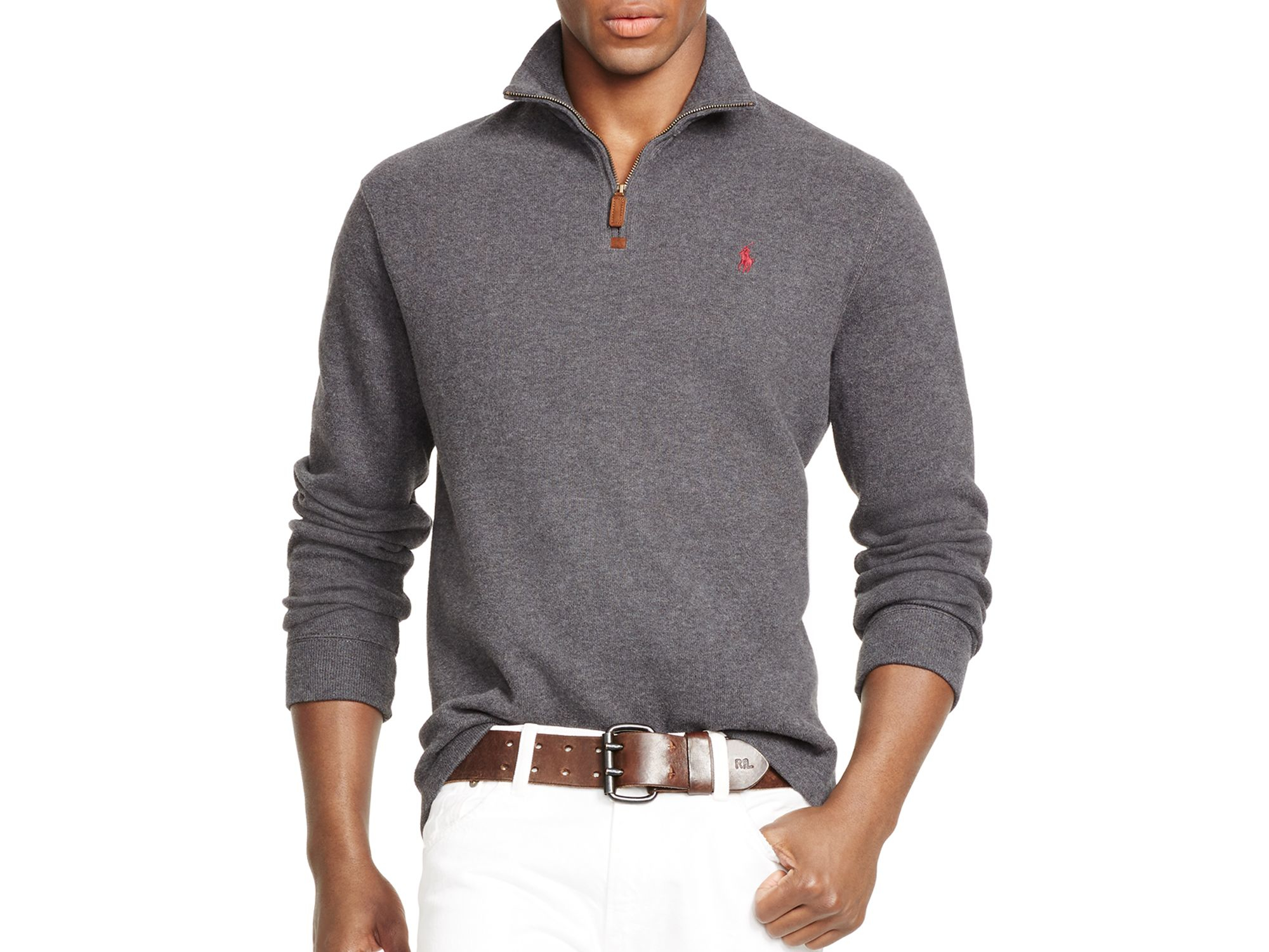 polo ralph lauren french rib half zip pullover in gray lyst. Black Bedroom Furniture Sets. Home Design Ideas