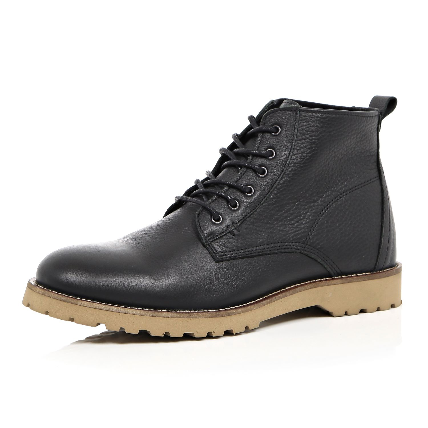 River Island Black Leather Rustic Boots In Black