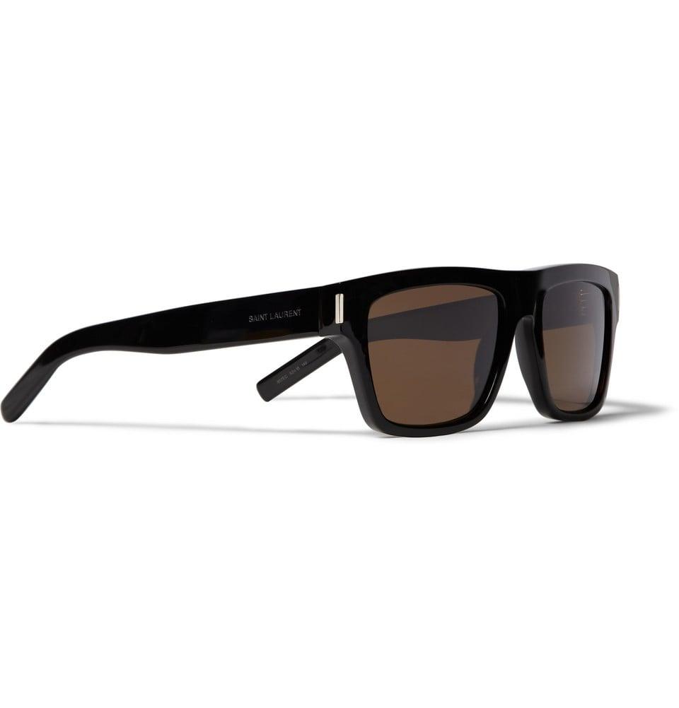 9e93f746552 Lyst - Saint Laurent Sl5 Square-Frame Acetate Sunglasses in Black ...