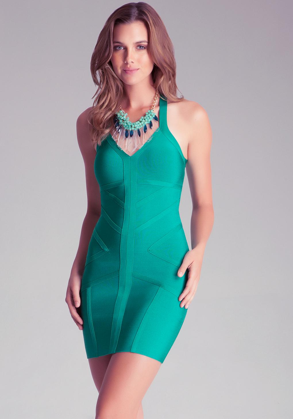Lyst - Bebe Geo Trim Bodycon Dress in Green