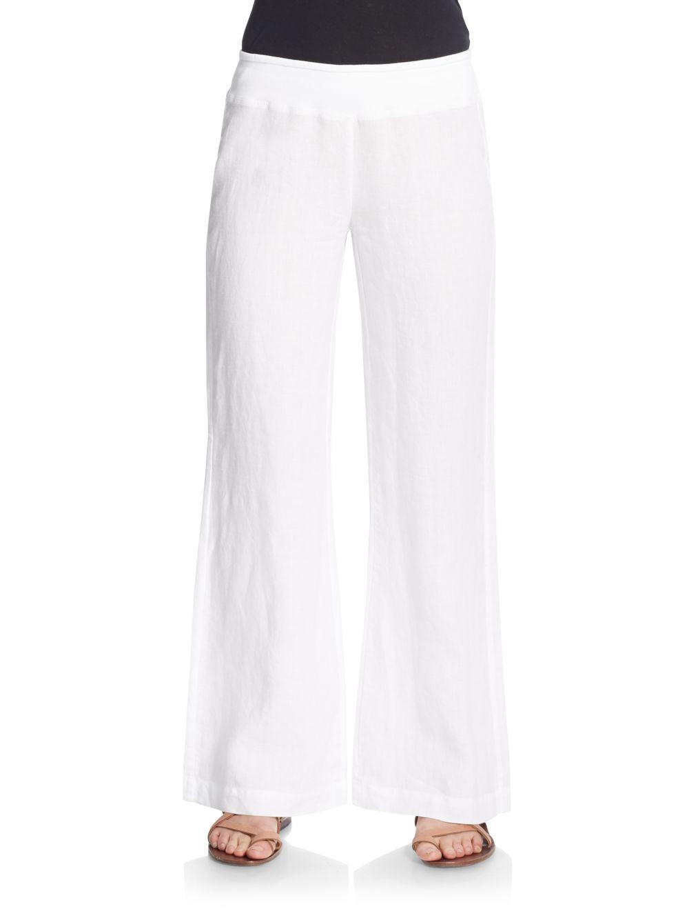 Saks Fifth Avenue Wide Leg Linen Pants In White Lyst