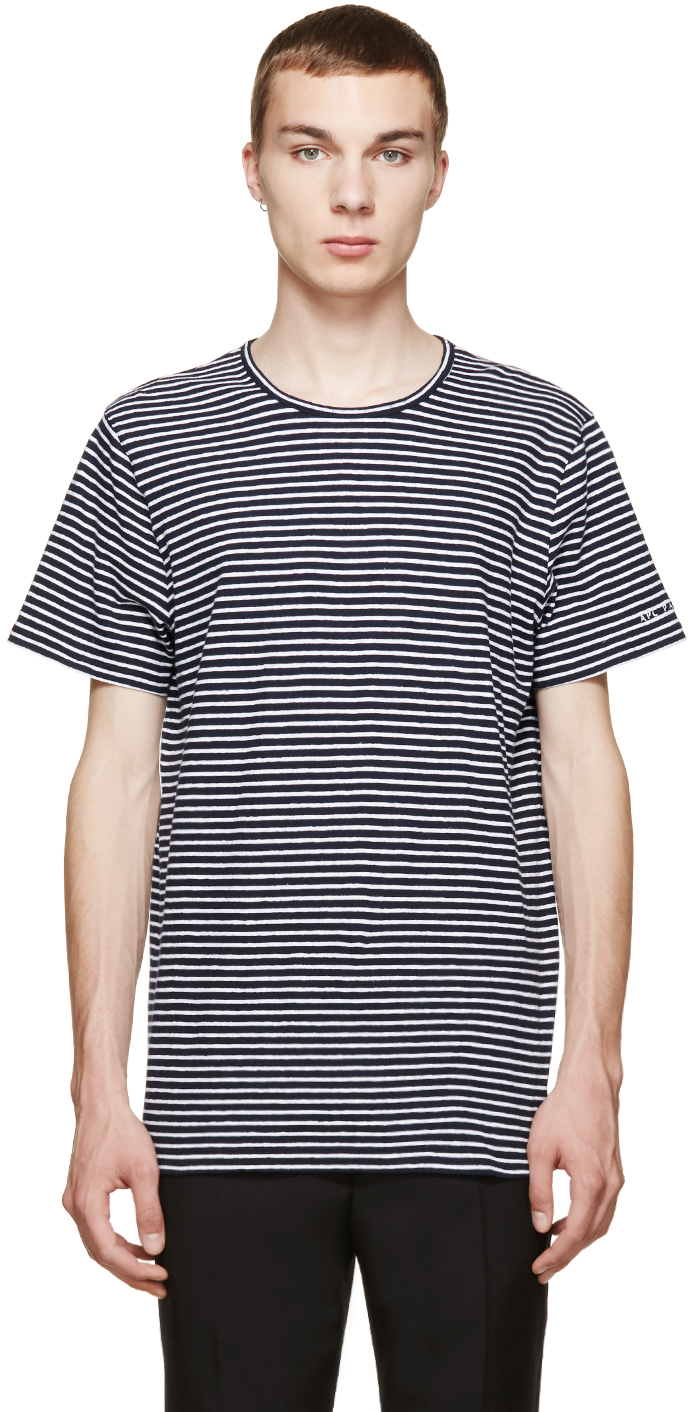 A P C Navy And White Striped Linen T Shirt In Blue For