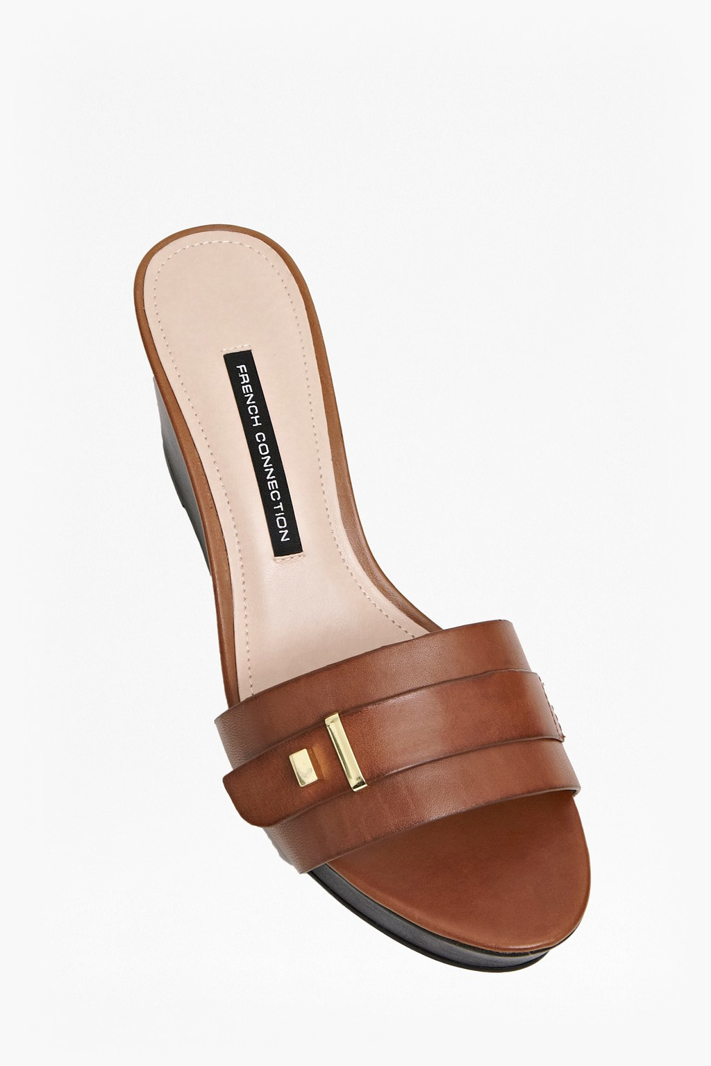 1df09f6c777f Lyst - French Connection Sadelle Leather Wedge Sandals in Brown