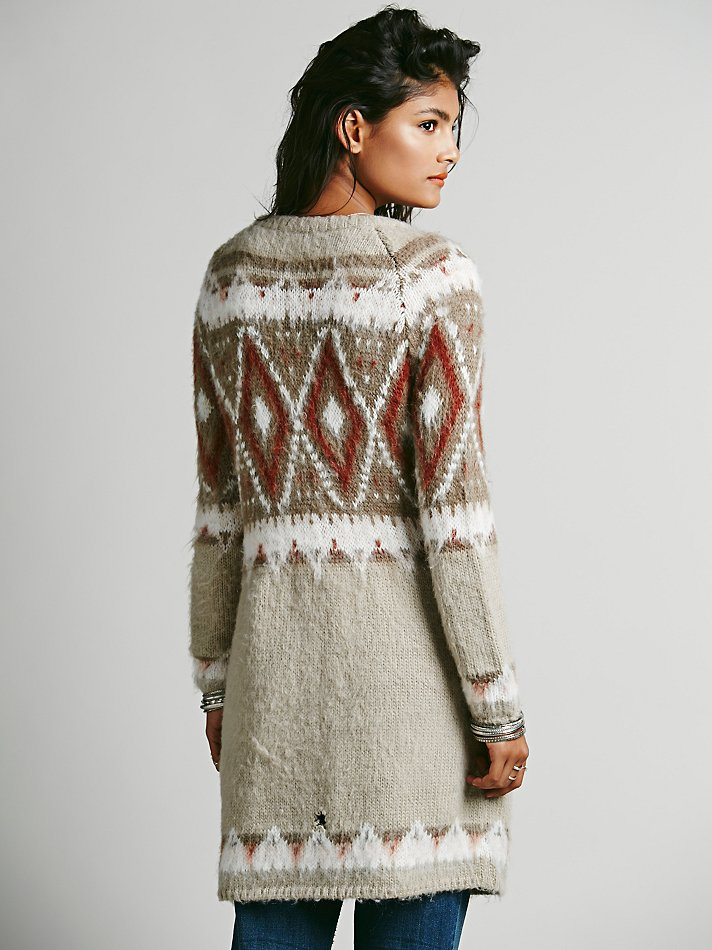 Free people Frosted Fairisle Cardigan in Brown | Lyst
