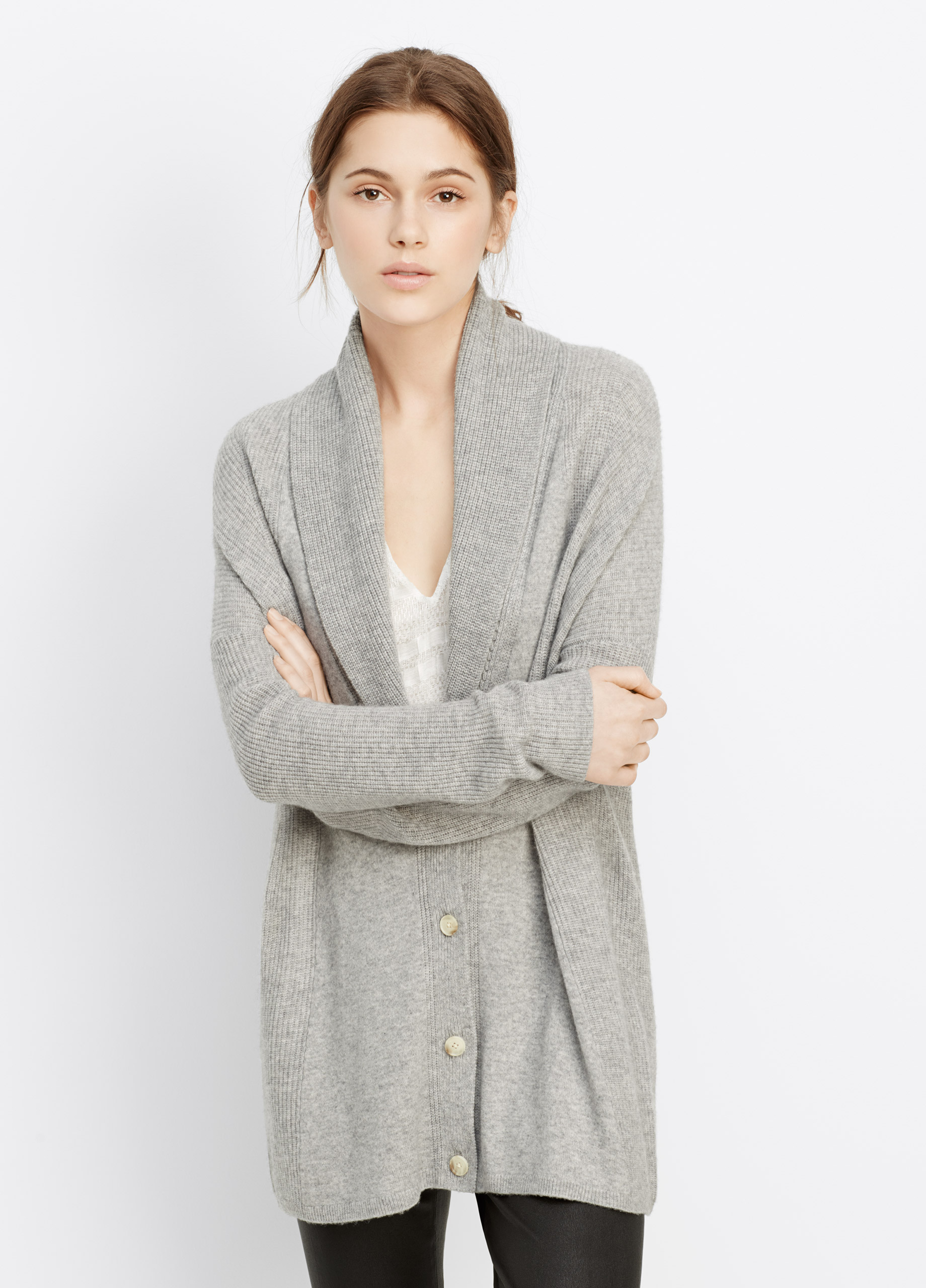 Vince Wool Cashmere Directional Rib Shawl Collar Cardigan in Gray ...