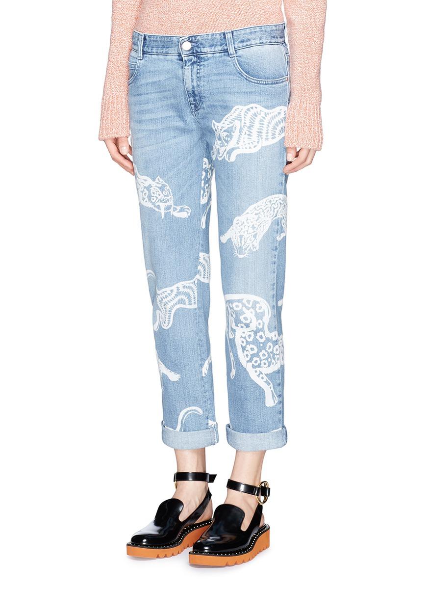 79653c1b4265f Lyst - Stella McCartney Tiger Print Boyfriend Jeans in Blue