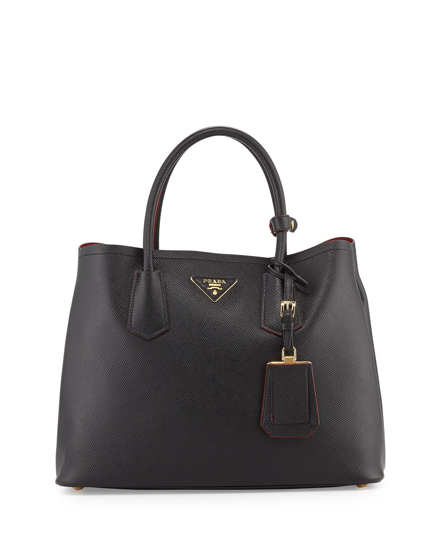 prada saffiano small double compartment tote bag in black. Black Bedroom Furniture Sets. Home Design Ideas