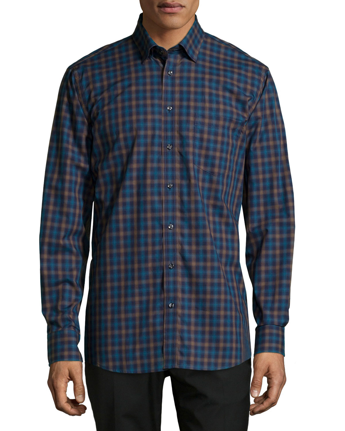 neiman sleeve plaid sport shirt in blue for