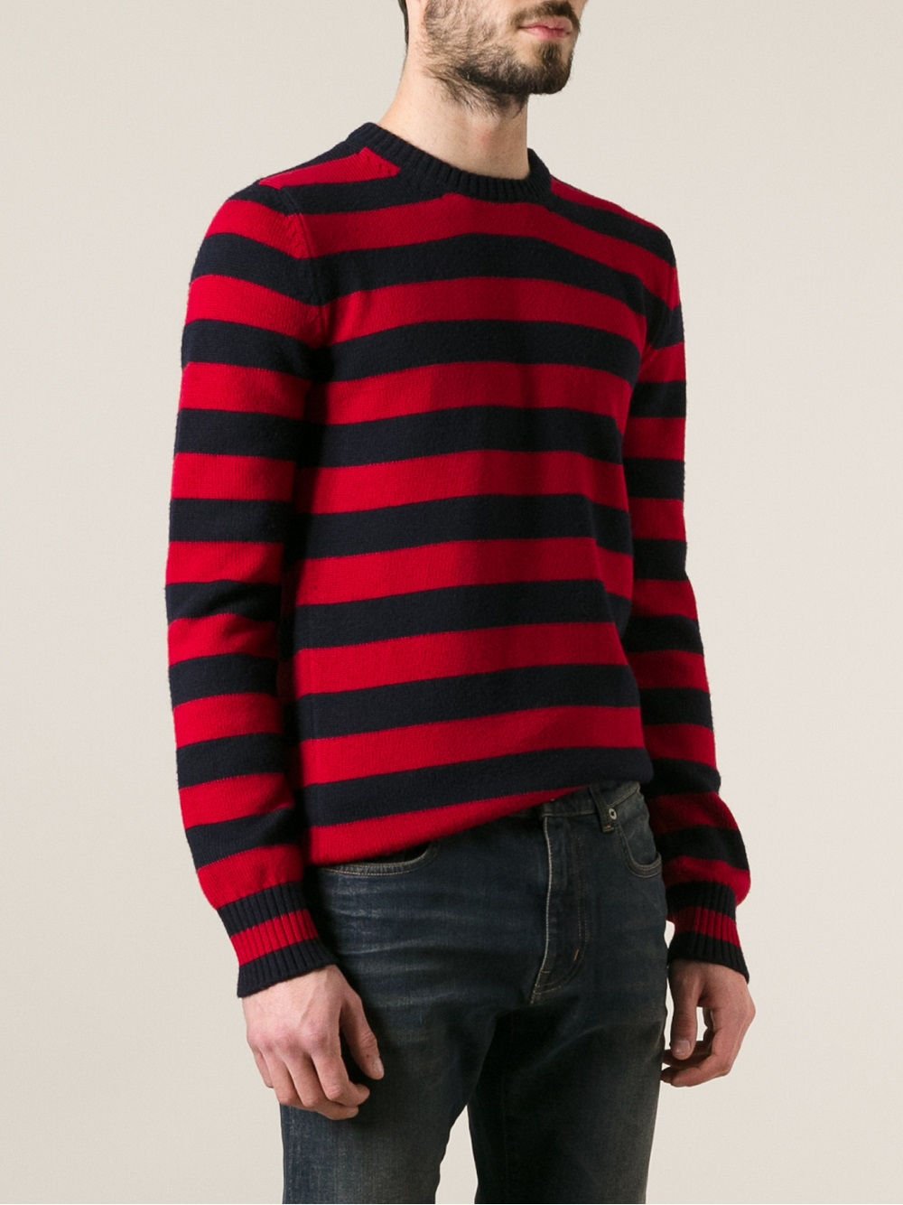 Saint laurent Stripe Knit Sweater in Blue for Men | Lyst
