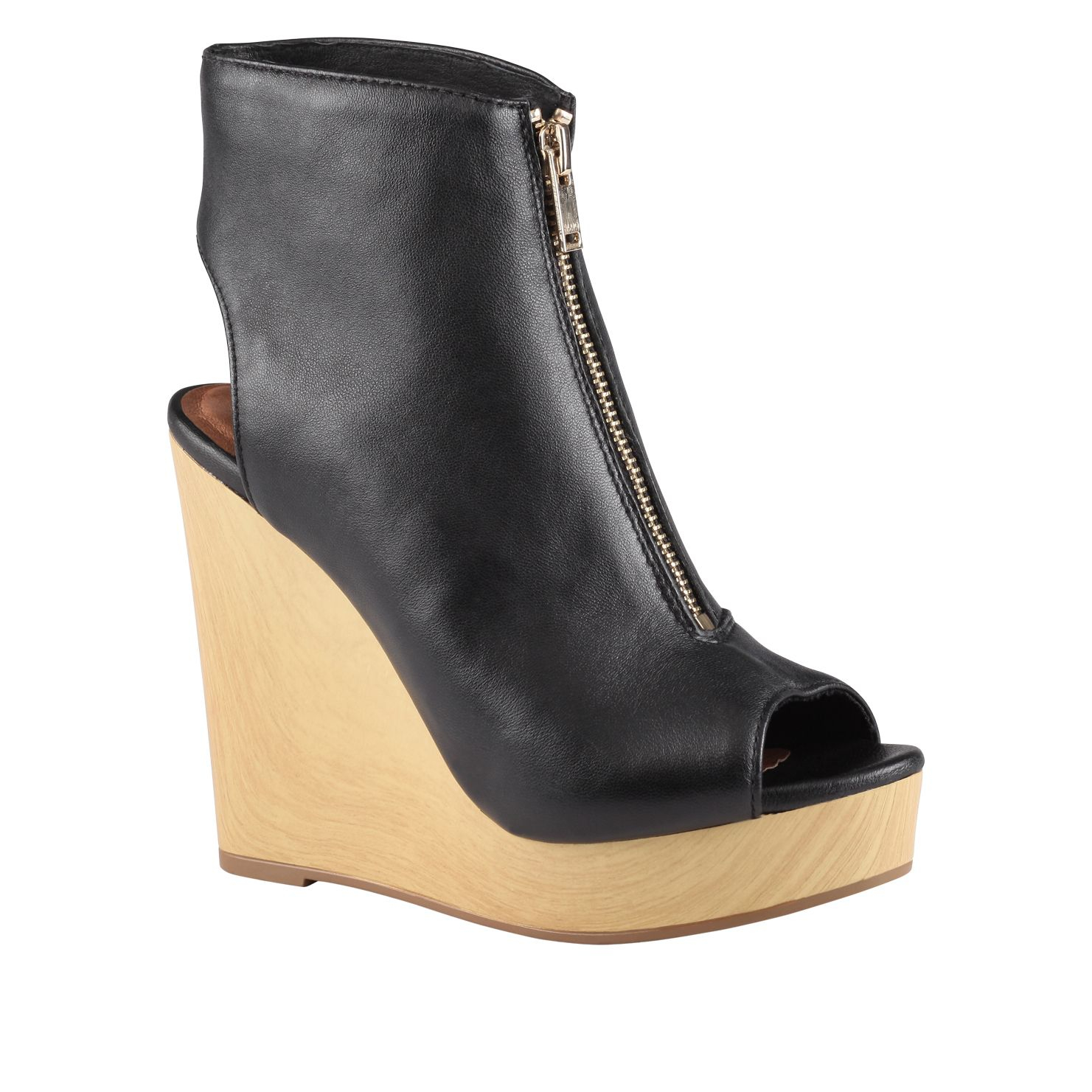 aldo zappia wedge peep toe boots in black lyst