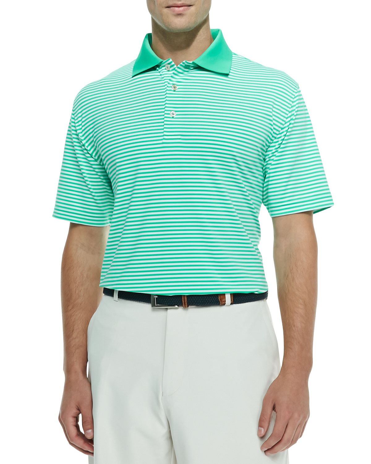 Peter millar striped jersey polo shirt in blue for men lyst for Peter millar polo shirts