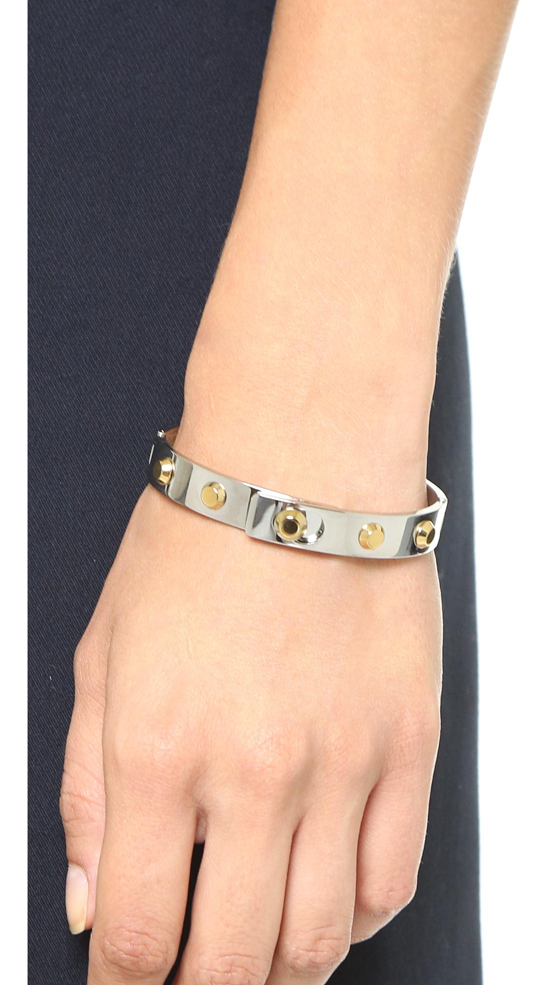Lyst Michael Kors Astor Hinge Bangle Bracelet In Metallic