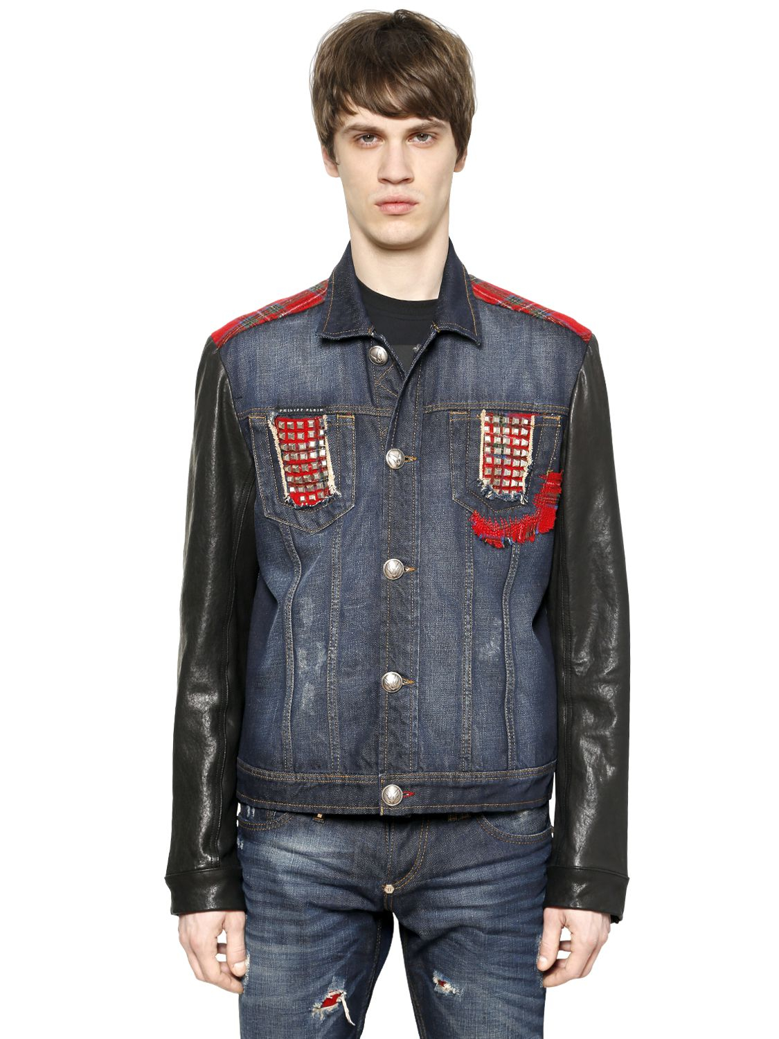 philipp plein studded leather and cotton denim jacket in. Black Bedroom Furniture Sets. Home Design Ideas