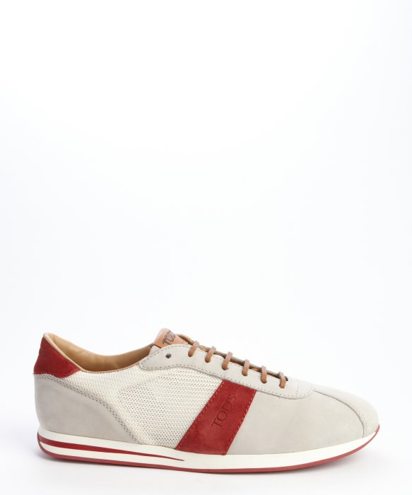 tod s grey suede and white canvas lace up sneakers in
