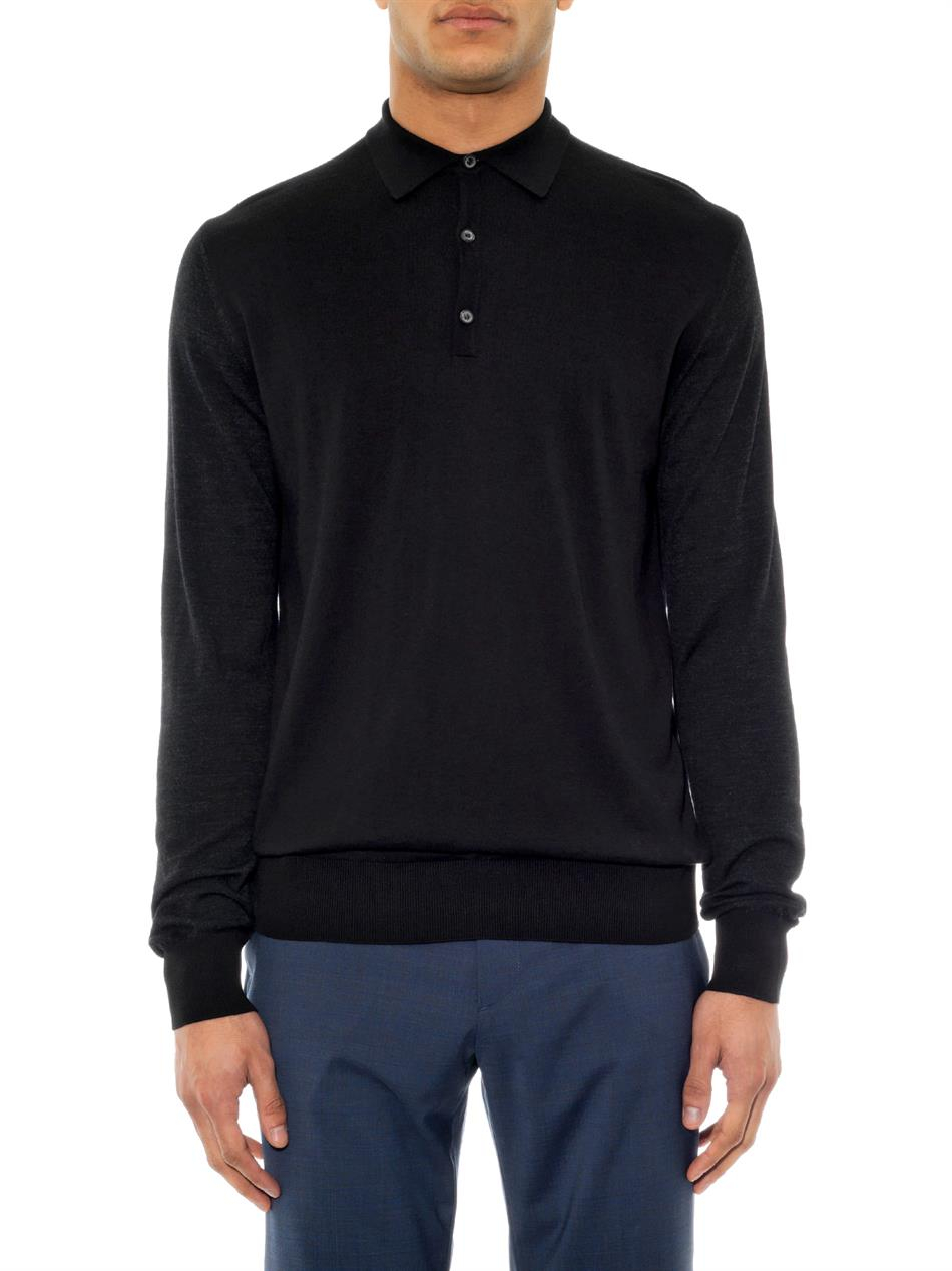 Lanvin Long Sleeved Polo Shirt In Black For Men Lyst