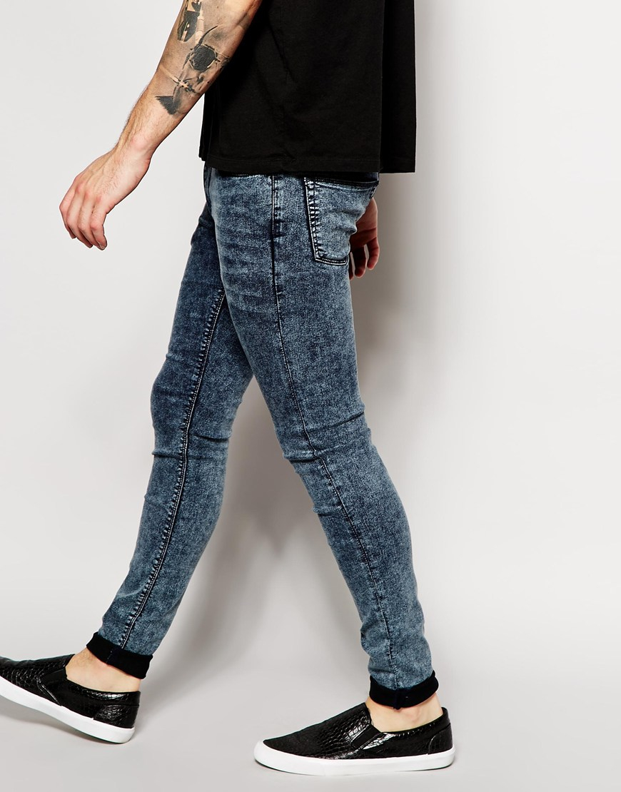 b943a7a857 Men Super Jeans Skinny Wash Lyst Blue Acid For Extreme Asos In AnTABvxw
