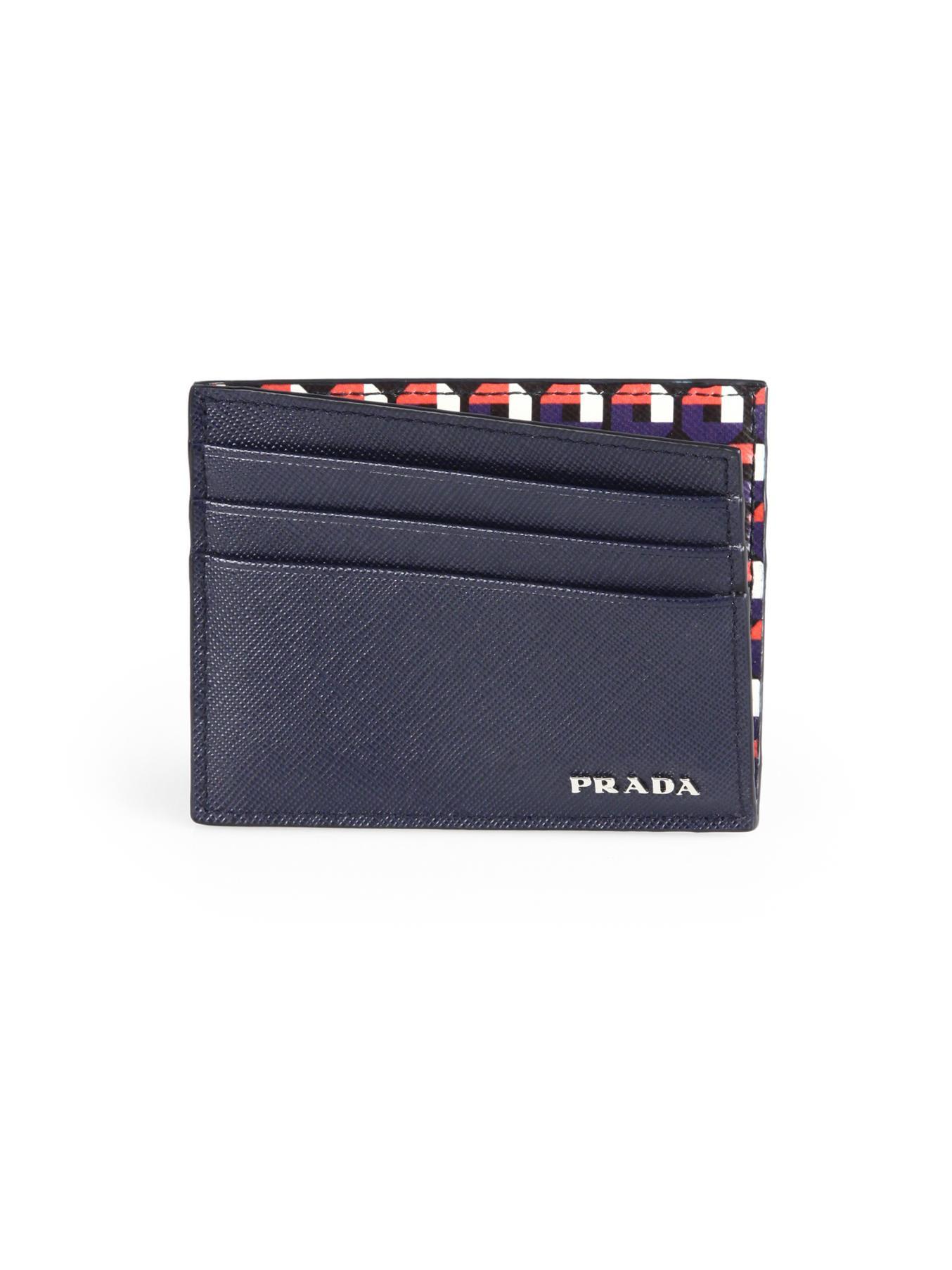 prada lady bag - Prada Saffiano Print Card Case in Blue for Men (BALTIC-BLUE) | Lyst