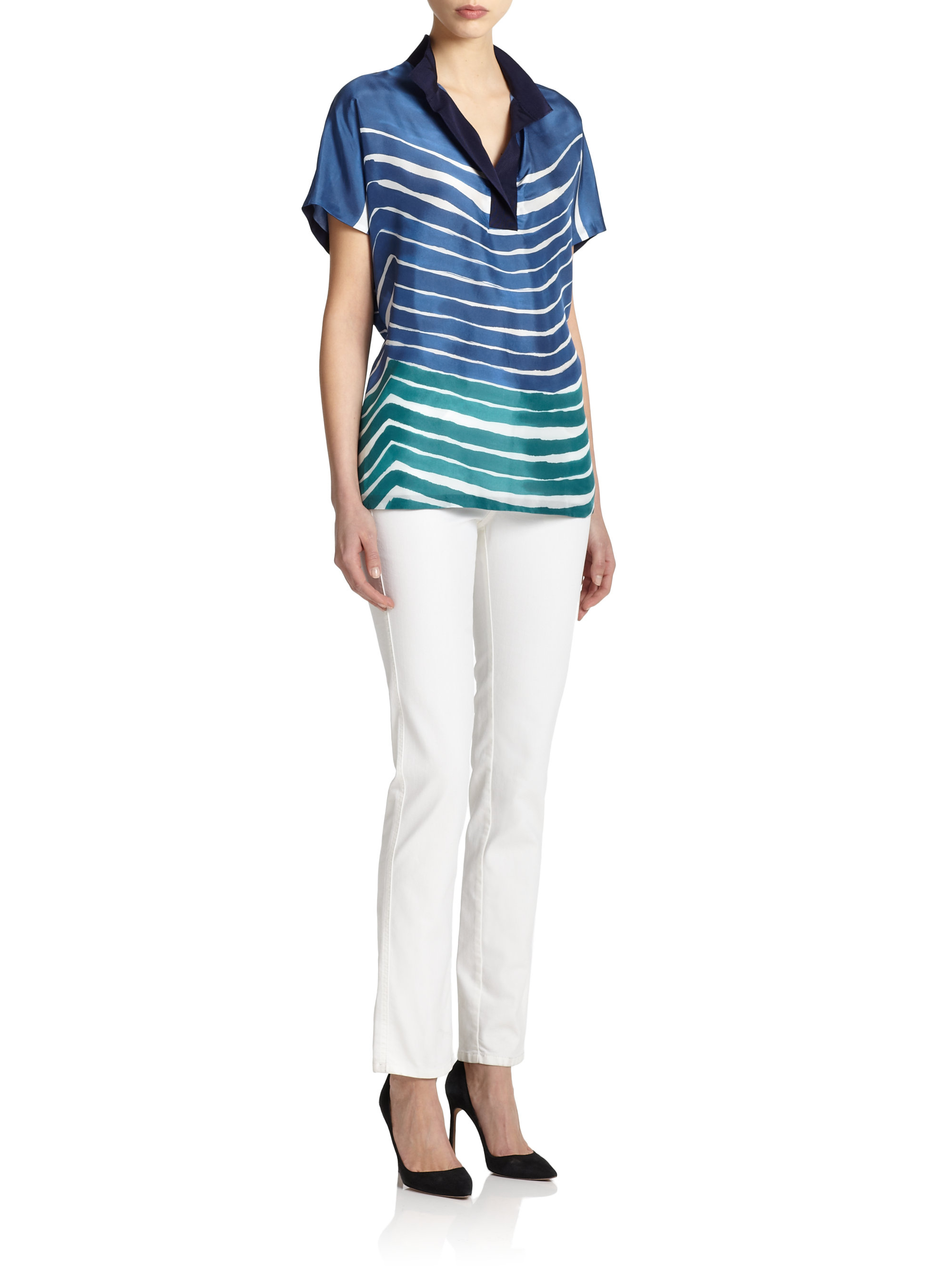 148 Best Images About Craft Ideas For Girls On Pinterest: Lafayette 148 New York Silk Striped Top In Blue