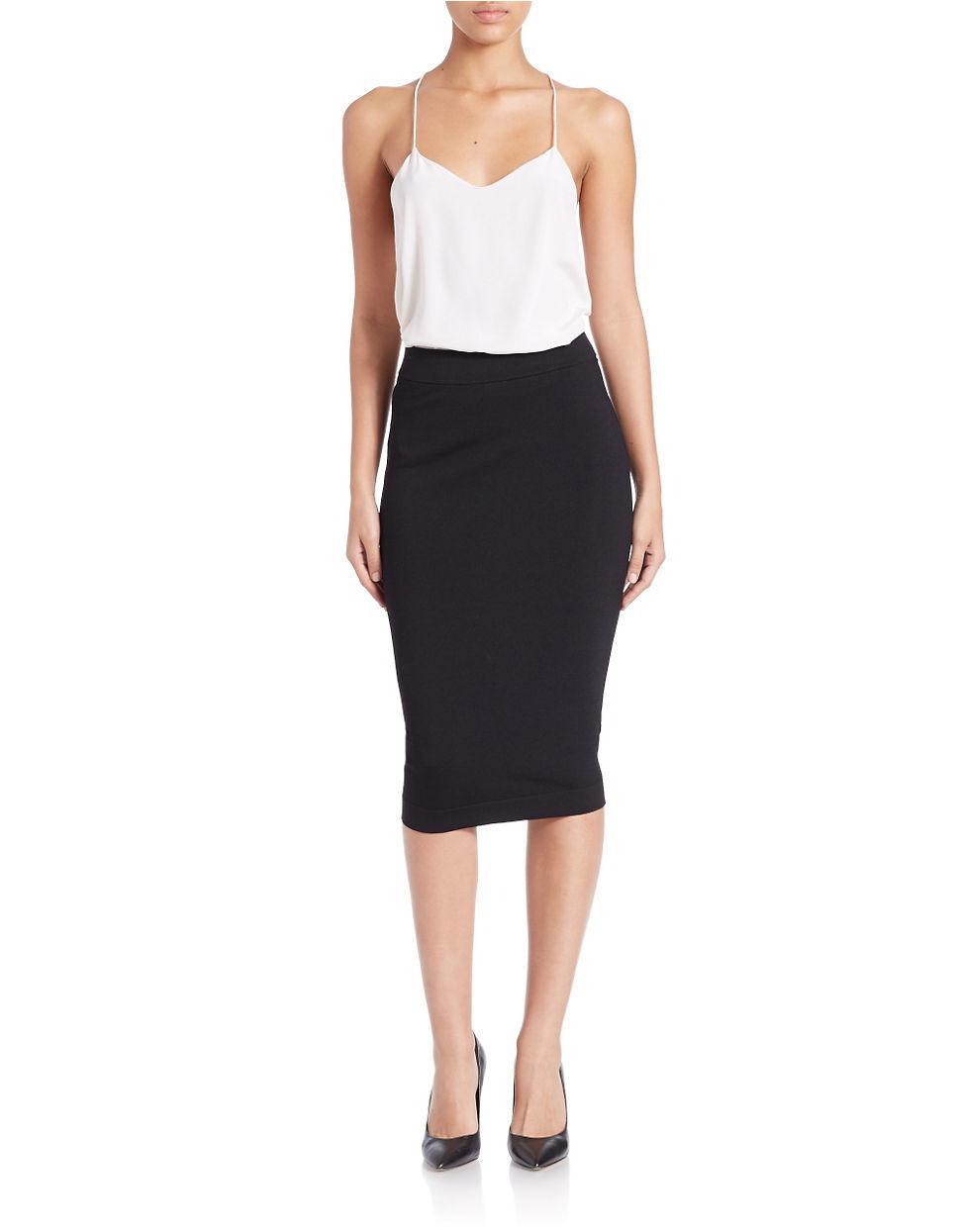 Kensie Fitted Midi Skirt in Black   Lyst