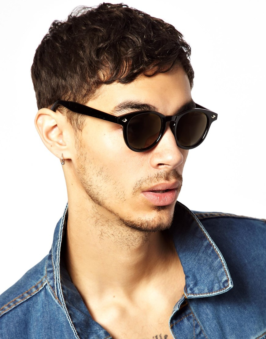 Preppy Sunglasses  asos preppy wayfarer sunglasses with gold mirror lens in black for