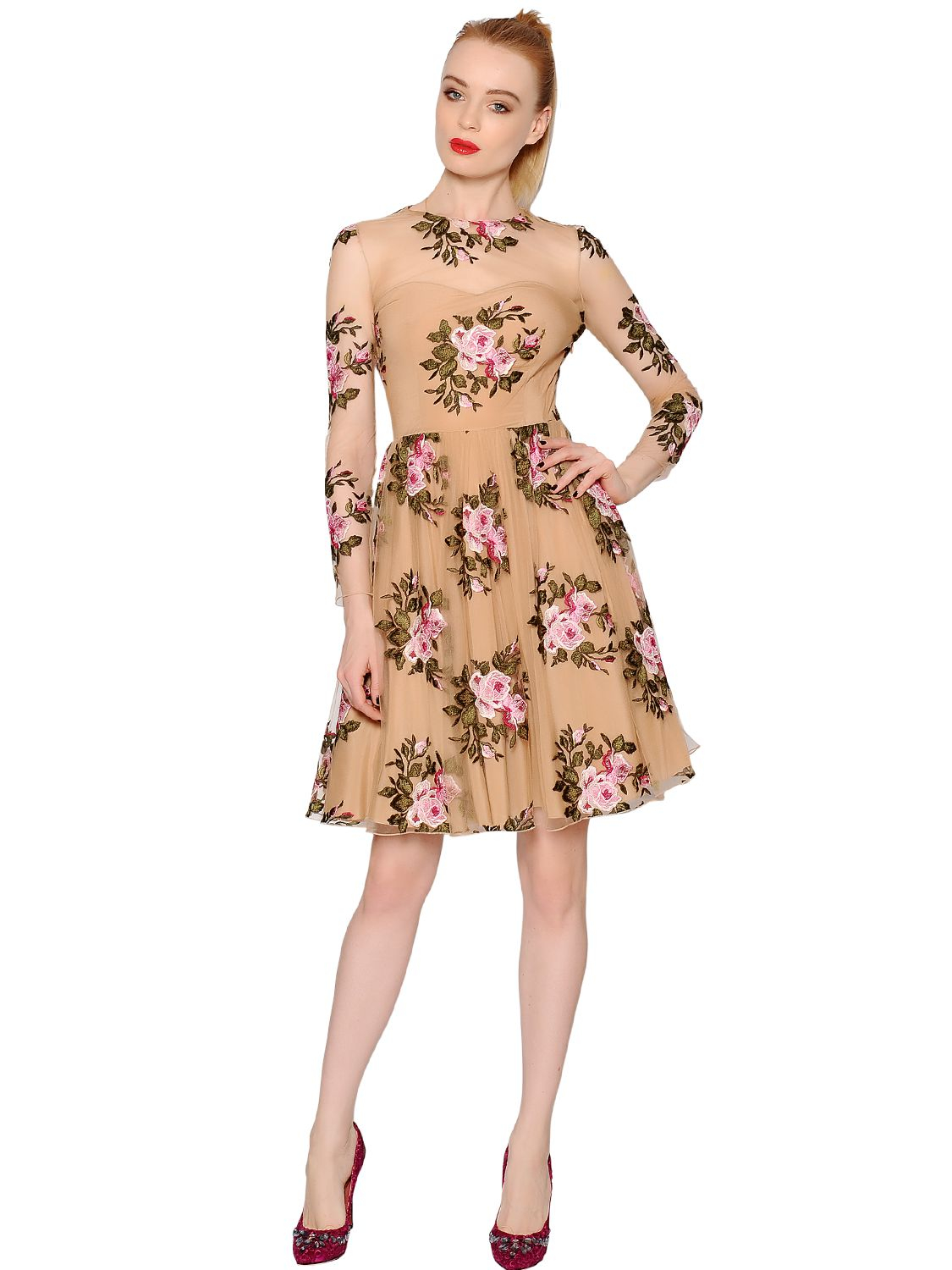 Lyst blumarine floral embroidered viscose tulle dress in