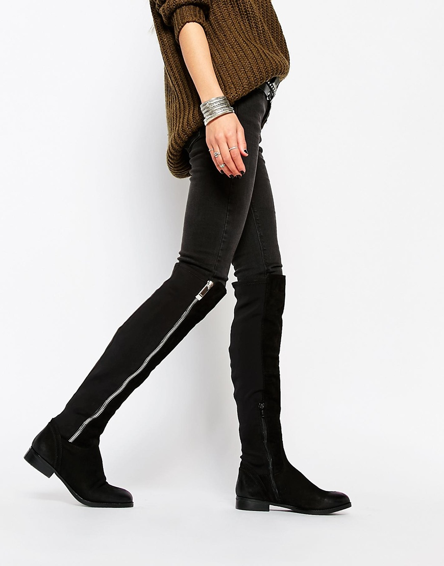 Aldo Dyna Black Leather Exposed Zip Knee Boots in Black | Lyst