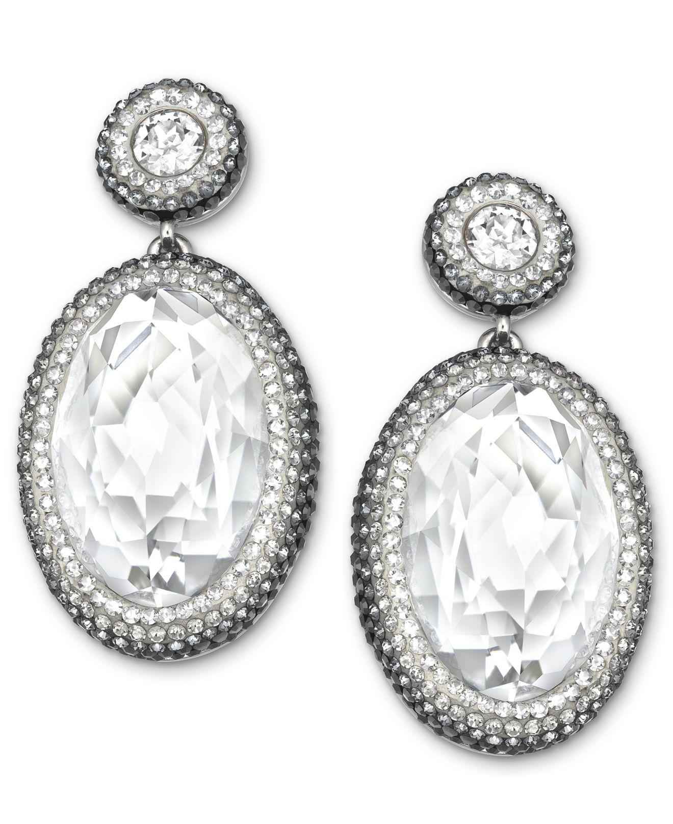 59bc4a99e Swarovski Palladium-Plated Clear Crystal Oval Drop Earrings - Lyst