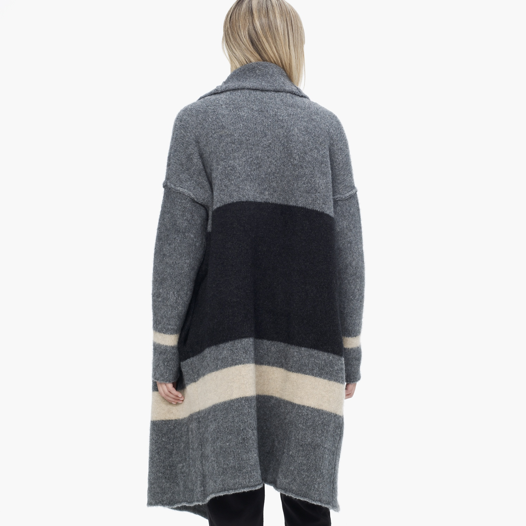 James perse Striped Blanket Sweater Coat in Gray | Lyst