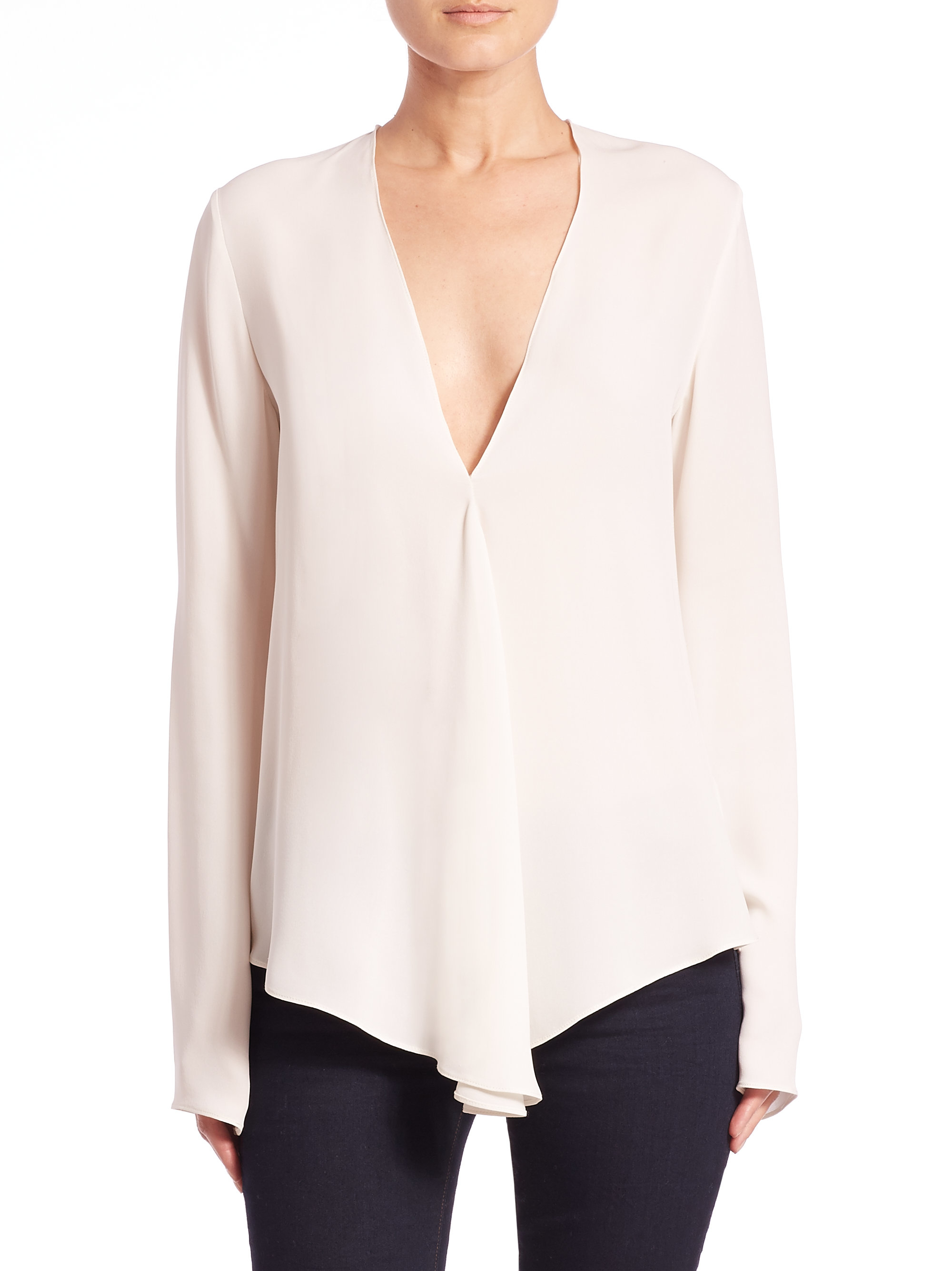 5d42d440e57 Lyst - Theory Meniph Classic Silk V-neck Blouse in White