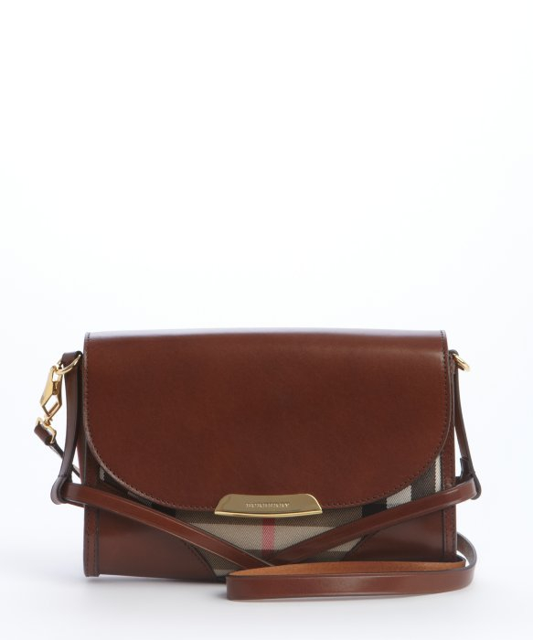 Snap Burberry Dickens Check Leather Shoulder Bag in Brown Lyst ... 6d15418d5c112