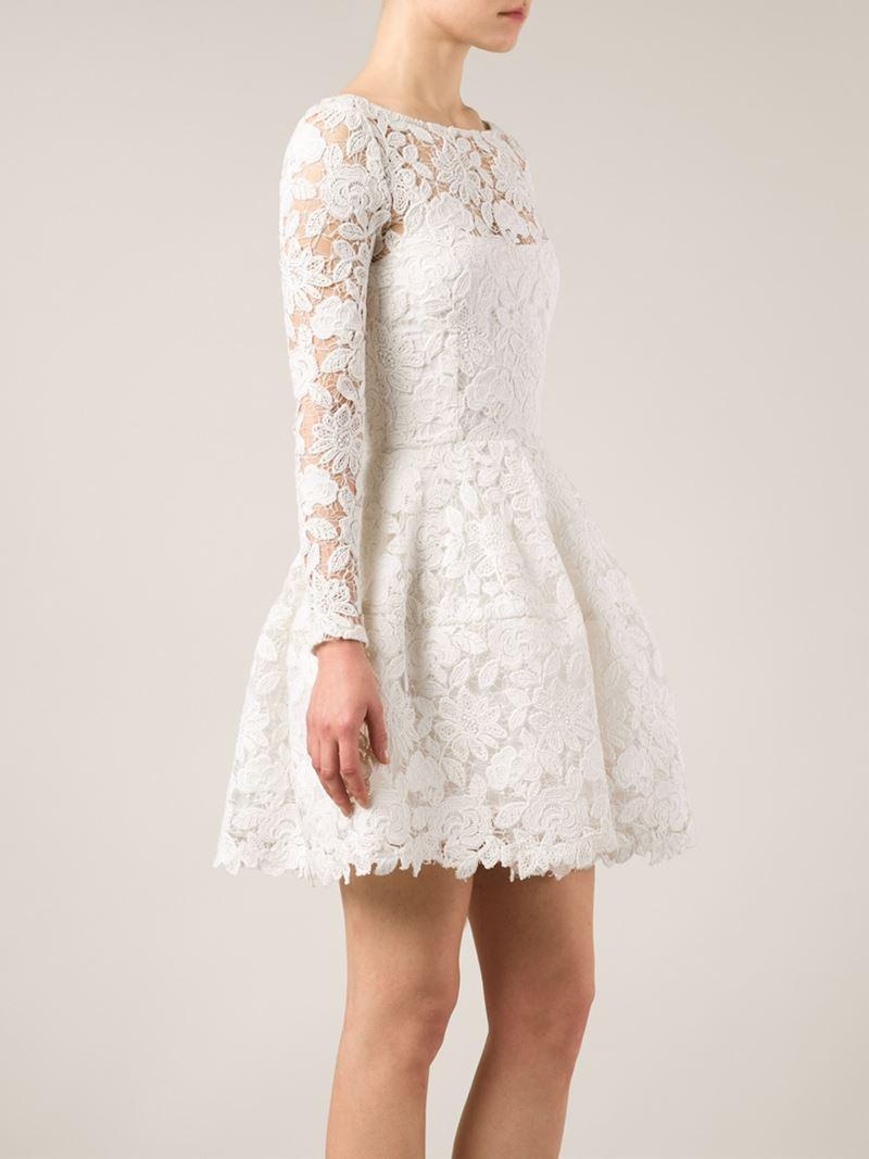 921fc454dfa Oscar de la Renta Guipure Lace Flared Dress in Natural - Lyst