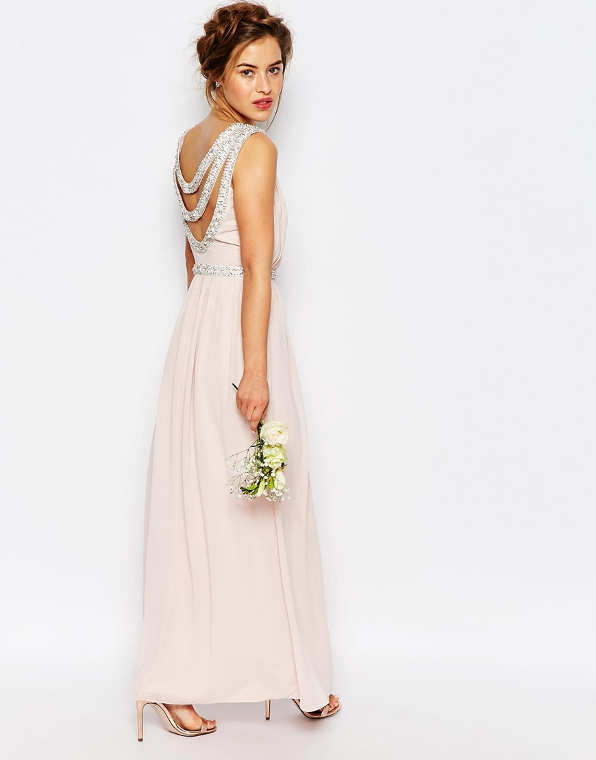 Tfnc london wedding embellished maxi dress in white peach for Petite dresses for wedding