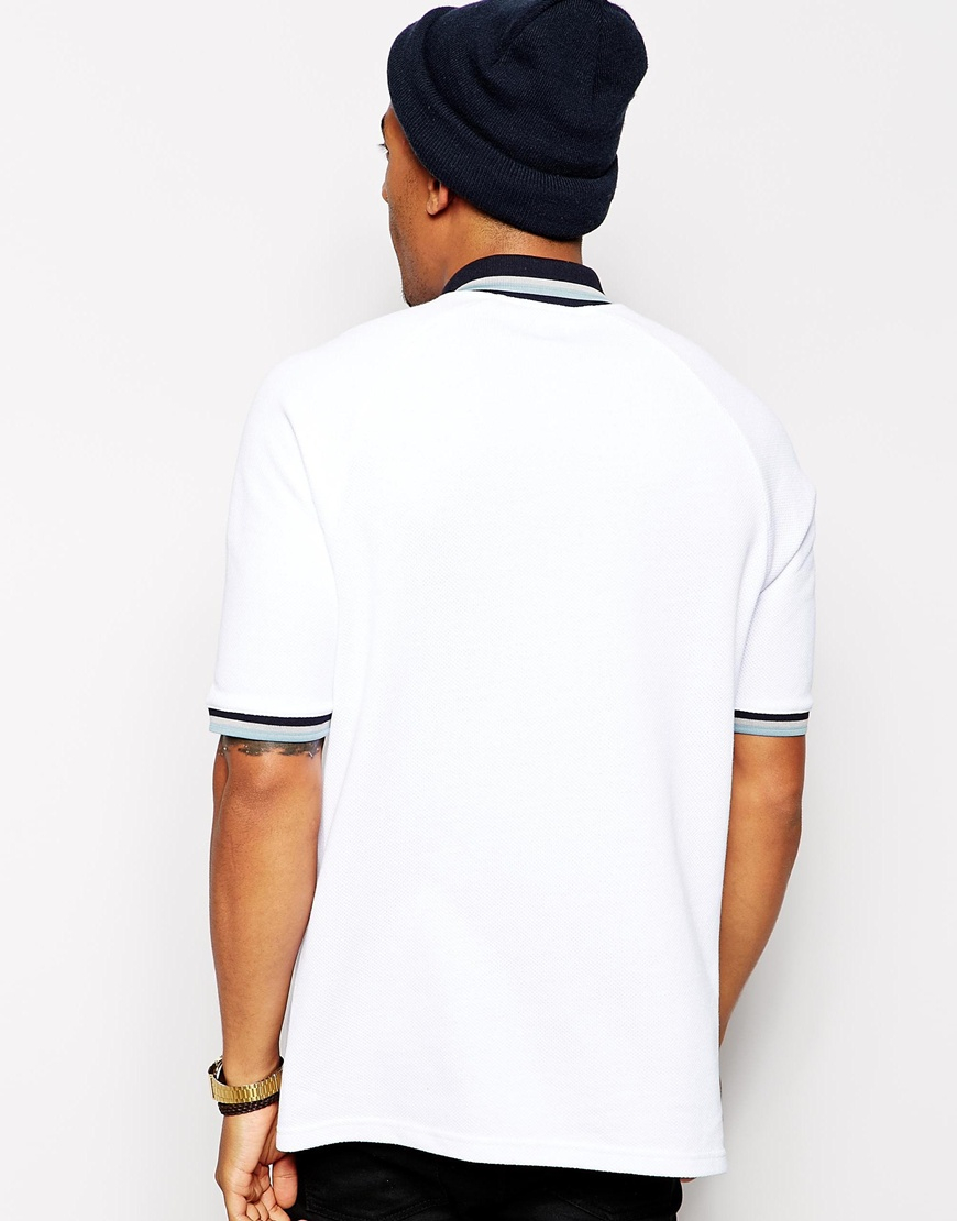 e5e494bbc2f Lyst - ASOS Oversized Polo Shirt With Tipped Collar in White for Men