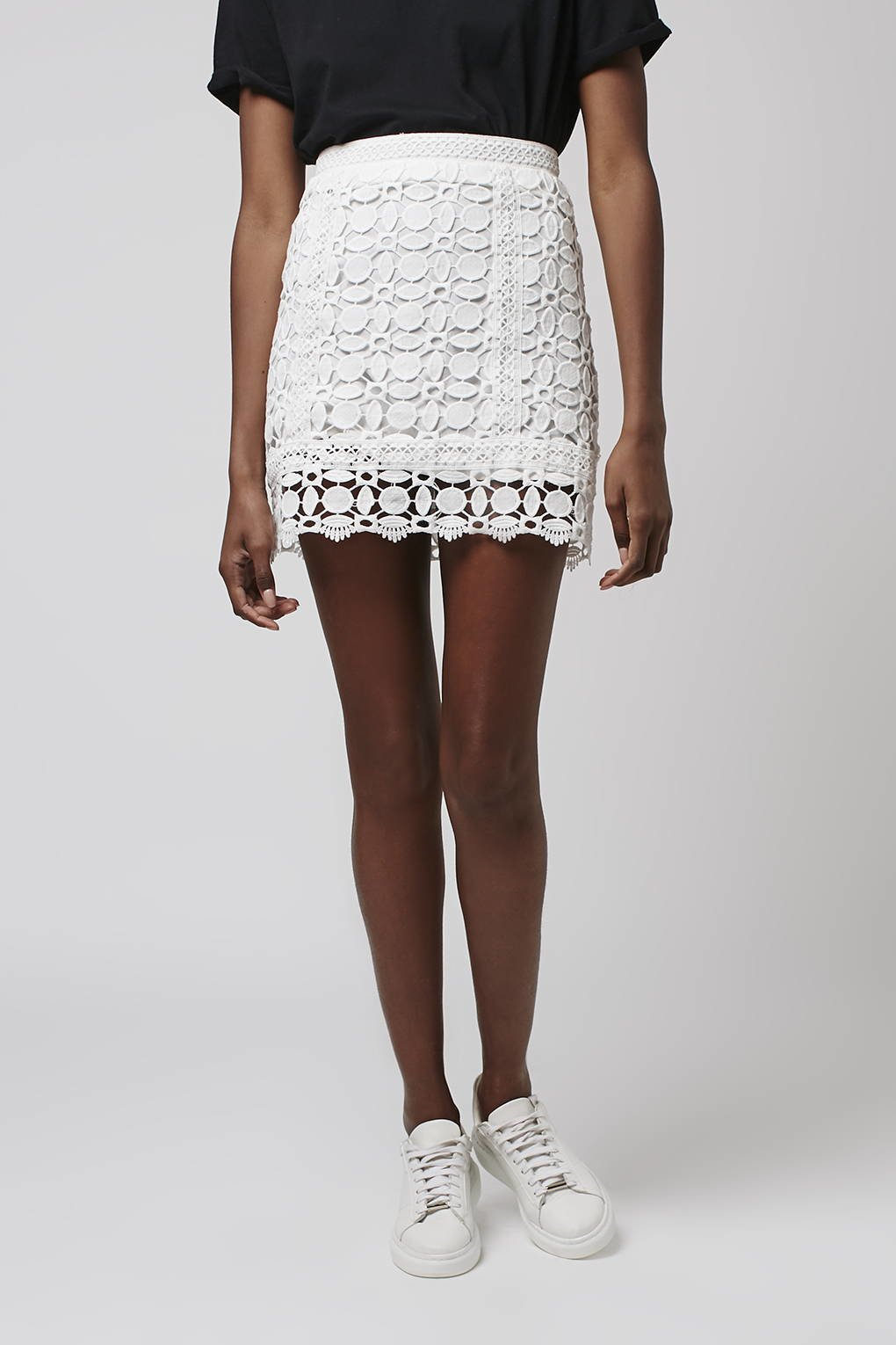 topshop guipure lace a line skirt in white lyst