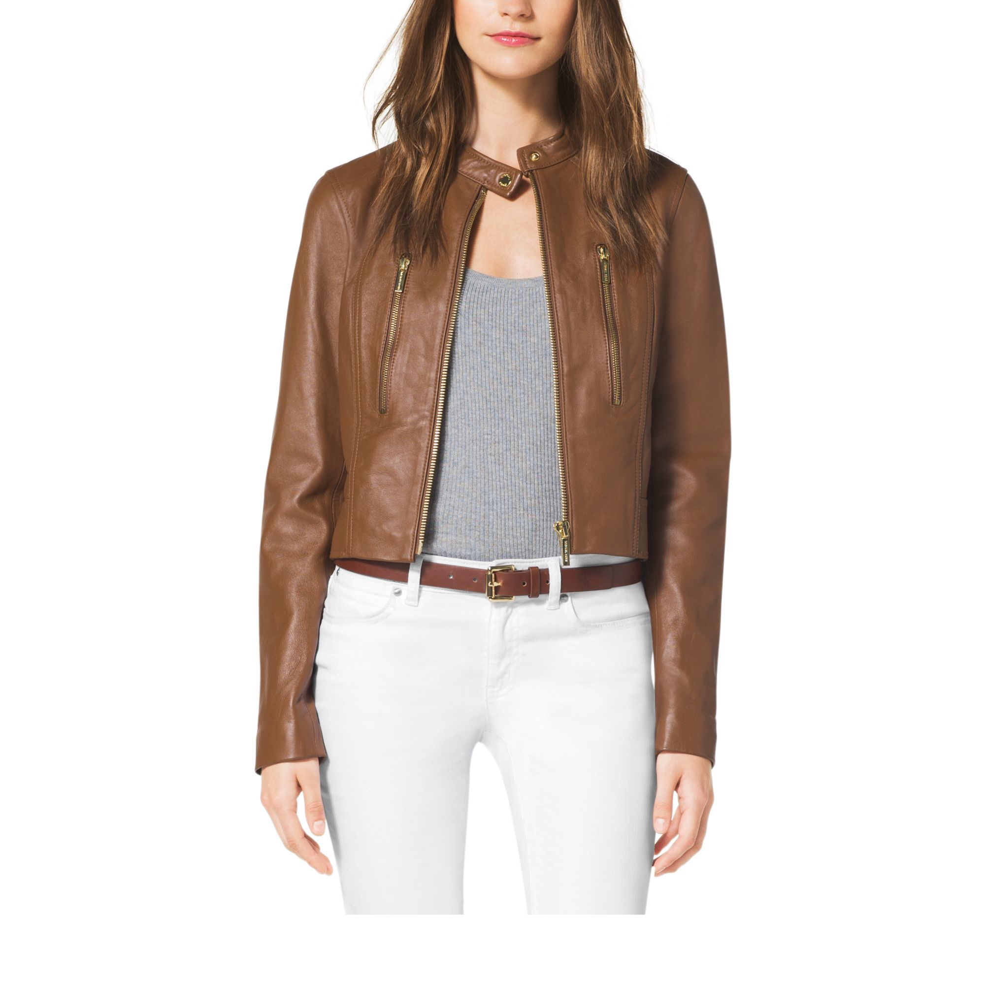 Michael kors Cropped Leather Jacket in Brown | Lyst