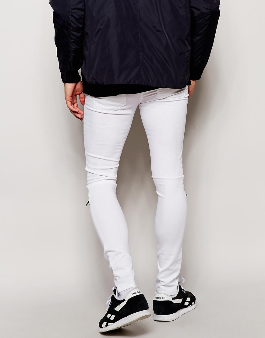 Asos Extreme Super Skinny Jeans With Zip Knees in White for Men | Lyst