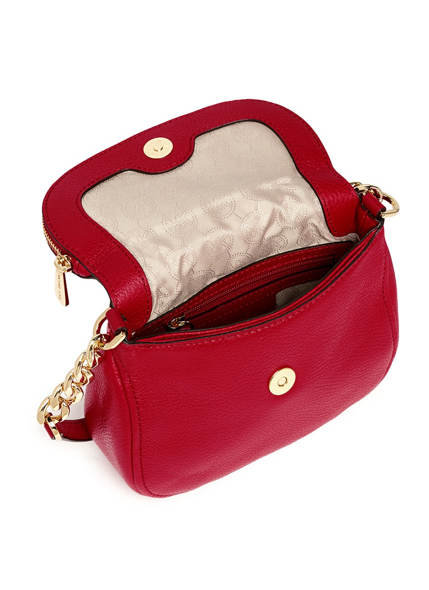 1bf6dbee11ce4 ... cherry red women c29f4 f5887  shop lyst michael kors bedford small  saffiano leather crossbody bag 4c321 3a56e