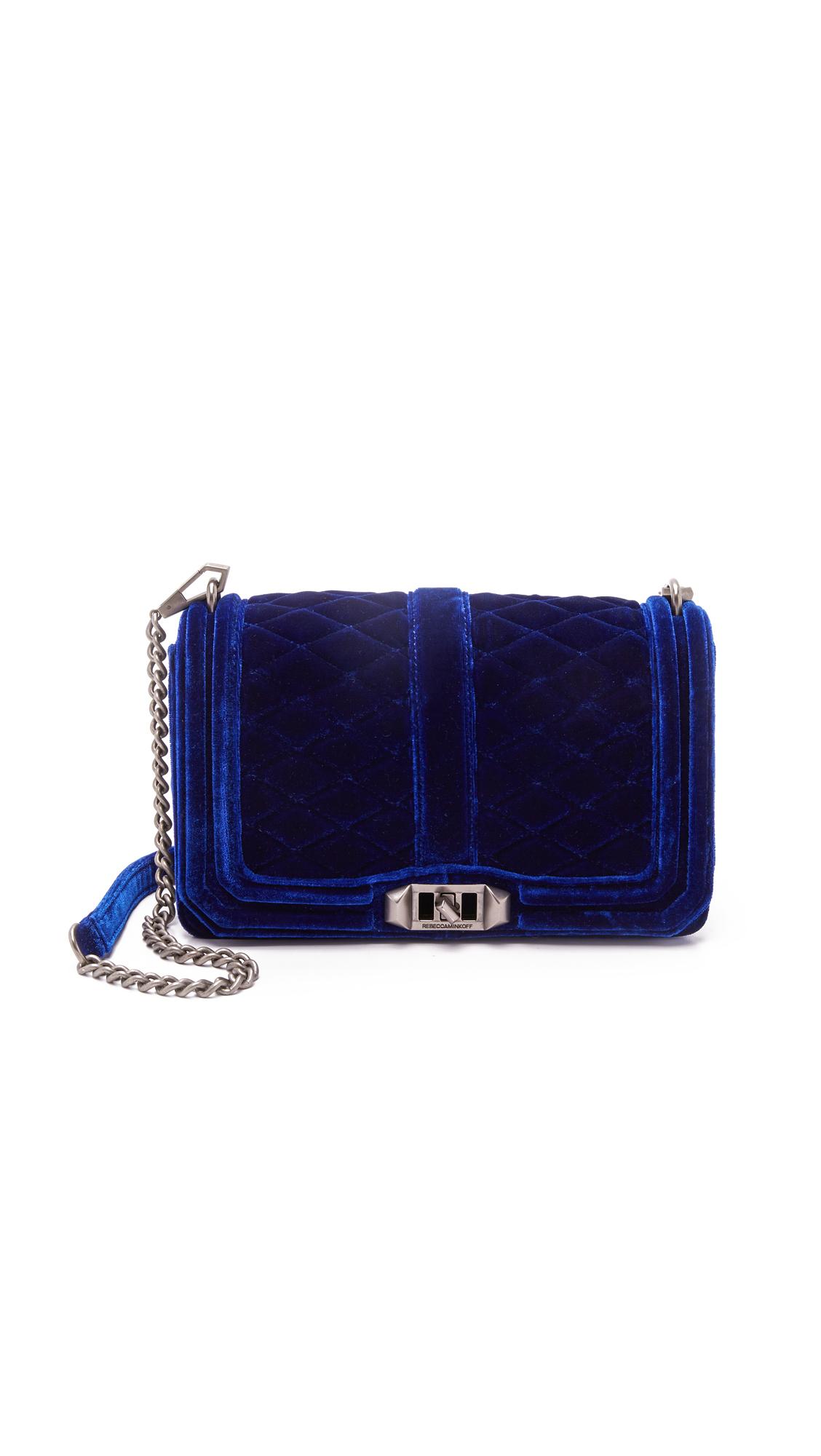 66ae8c4eb858 Lyst - Rebecca Minkoff Velvet Love Cross Body Bag - Sapphire in Blue