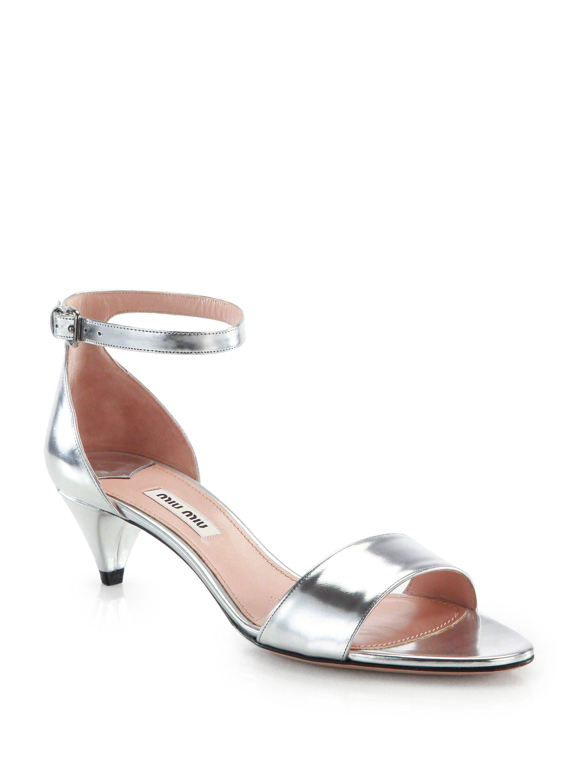 Lyst - Miu Miu Metallic Leather Kitten-Heel Sandals in Metallic
