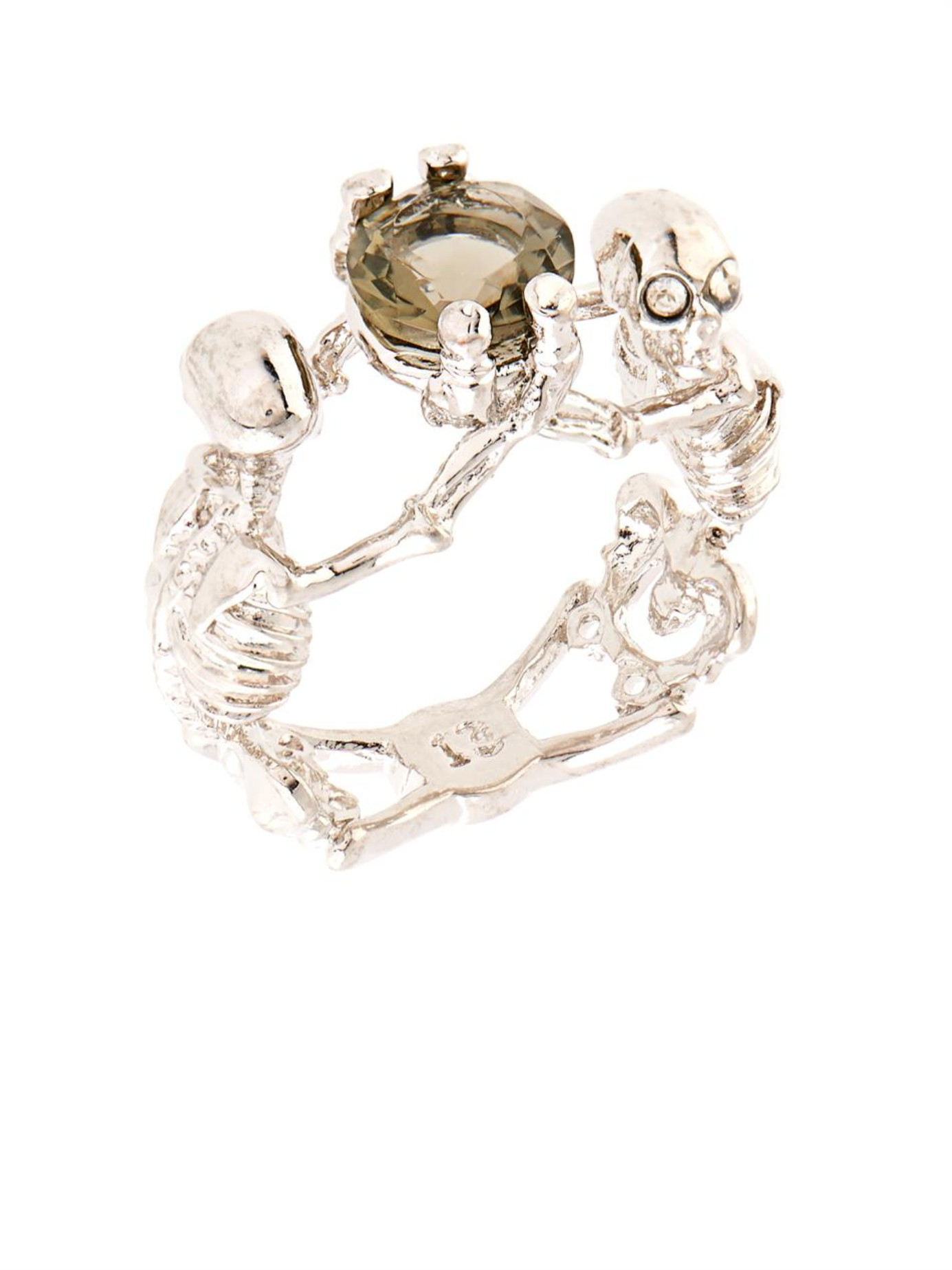 halloween hot silver sales rings plated product skeleton punk jewelry