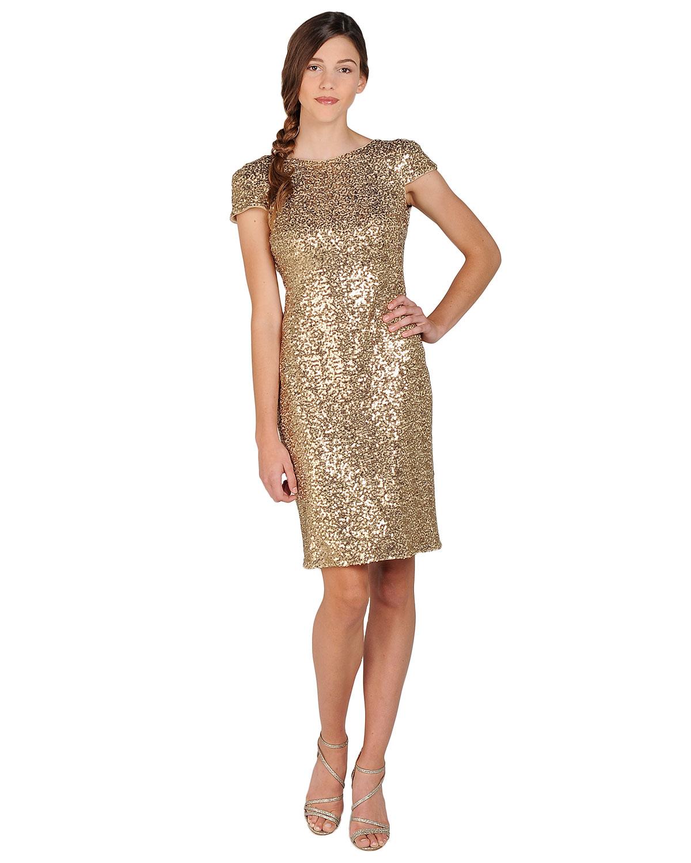 Badgley mischka Sequin Cowl Back Cocktail Dress in Metallic  Lyst