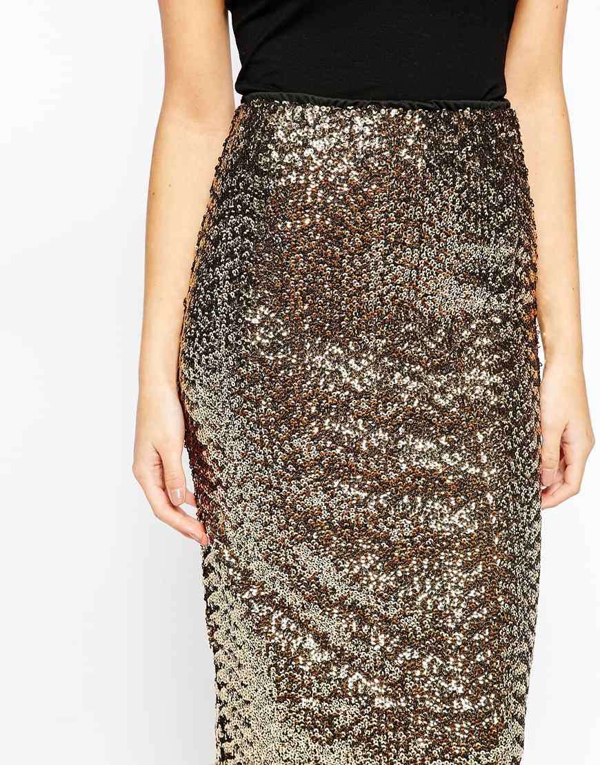 Oasis Asis Sequin Pencil Skirt in Metallic | Lyst