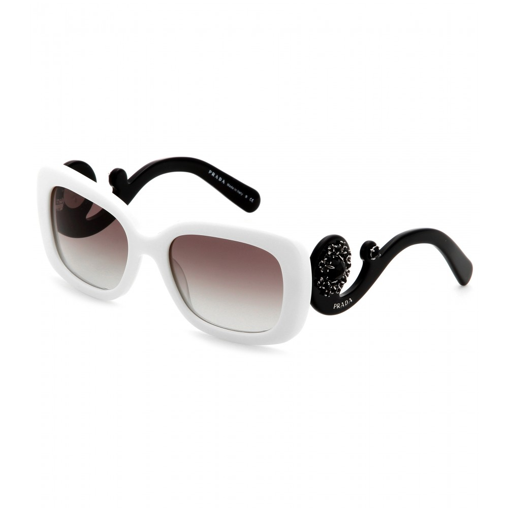 Prada Baroque Square Sunglasses  prada minimal baroque square frame sunglasses in white lyst