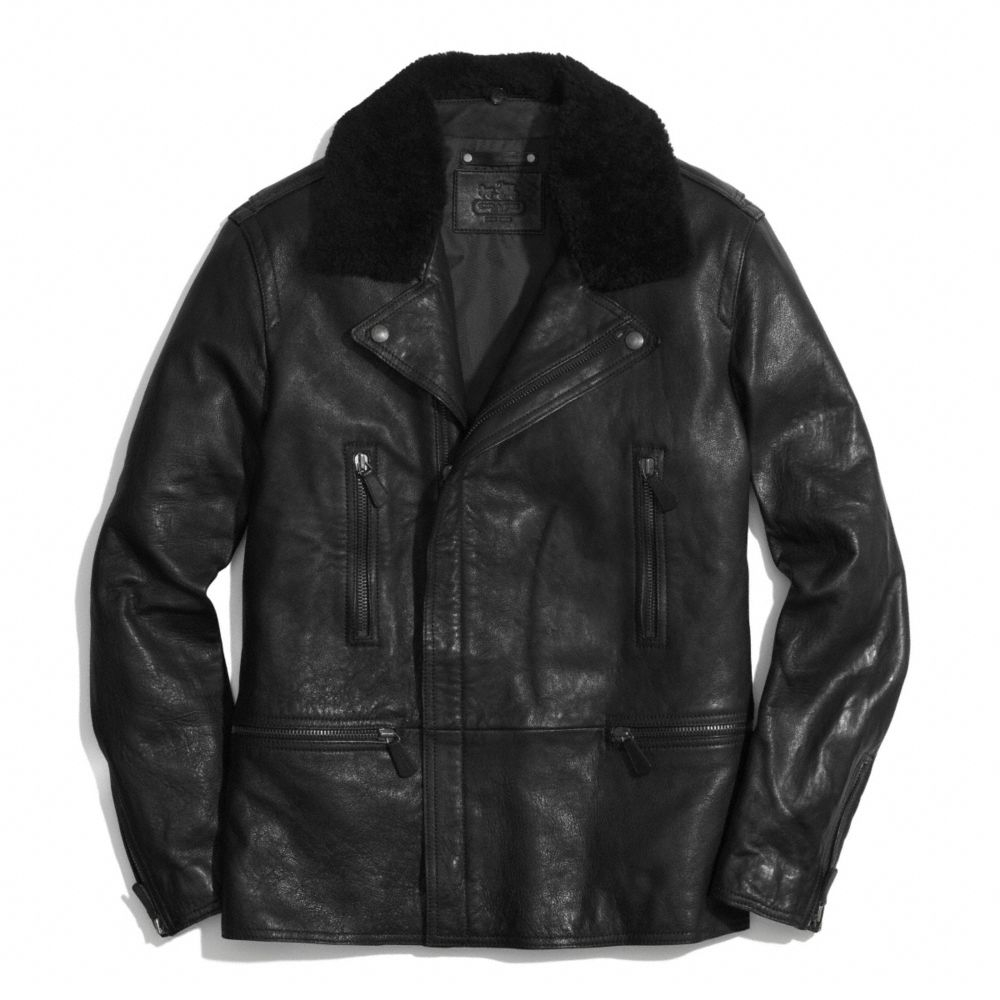 Lyst Coach Long Leather Moto Jacket With Shearling