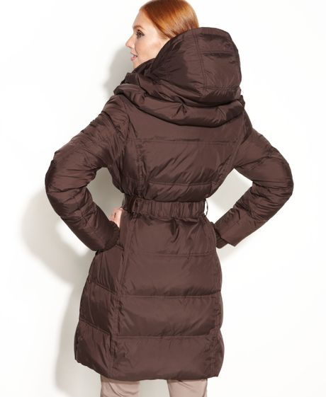Dkny Belted Quilted Long Length Down Puffer Coat In Brown