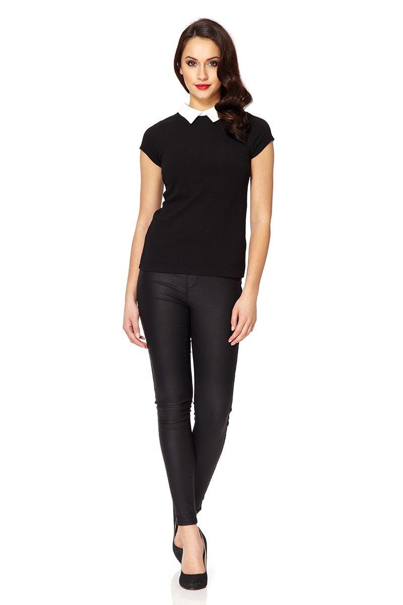 Lyst Quiz Black Crepe White Collar Top In Black