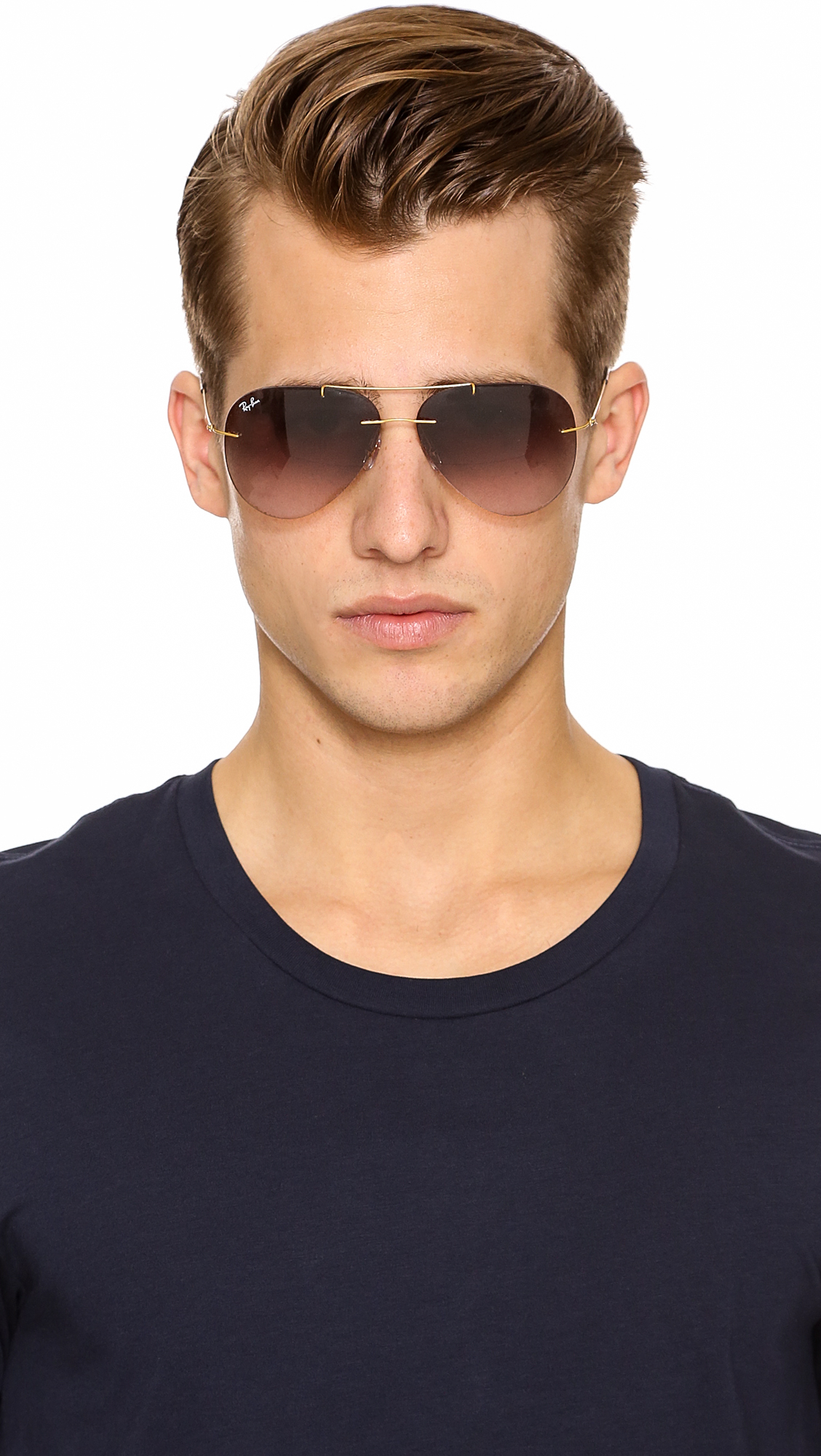 Mens Ray Ban Aviator Sunglasses  ray ban light tech aviator sunglasses in metallic for men lyst