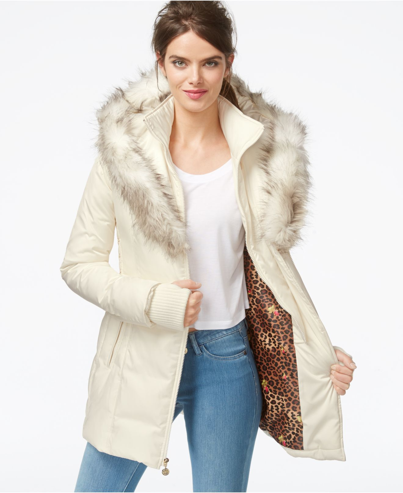 Betsey johnson Faux-fur-hood Quilted Puffer Coat in White | Lyst