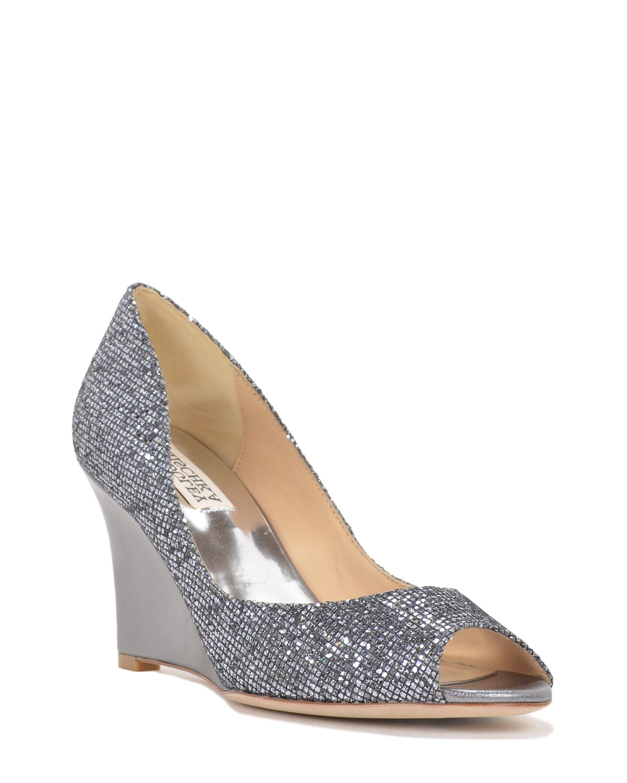 badgley mischka awake metallic wedge evening shoe in