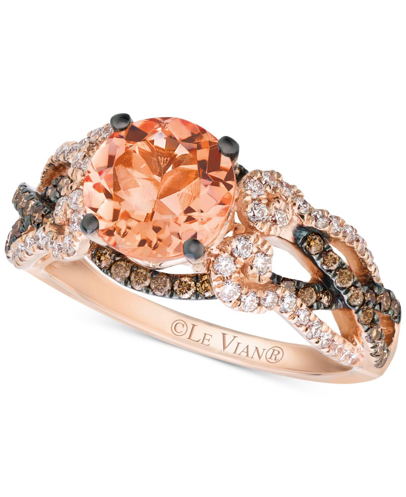 Le Vian Peach Morganite 1 3 8 Ct T W And Diamond 5 8